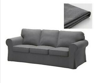 ORIGINAL IKEA Ektorp Cover Sofa NORDVALLA DARK GREY 3 Seat Slipcover Washable