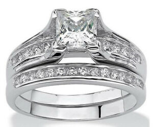 2.55c Princess Cut AAA CZ Stainless Steel Wedding Ring Set Women's Size 5-9