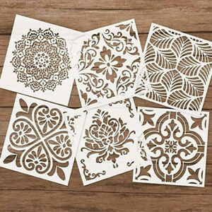6pcs Mandala Schablonenset Wandfliesen DIY Aushöhlen Herstellung Möbel Malkarte