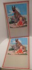 25 Old Store Stock Great Dane Dog Calendar Prints - Big Guardian w/ baby KLM