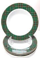 """Set of 4 PACIFIC RIM 8.5"""" Tartan Plaid Christmas Porcelain Soup / Cereal Bowl"""