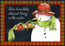 Snowman and Five Birds - Box of 18 Christmas Cards by Lpg Greetings
