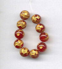 """CARVED 10 KT. GOLD PLATED CARNELIAN 8MM DRAGON BEADS - 3.25"""" Strand - 0381"""