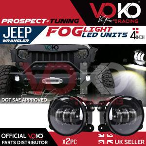 NEW UK 2PCS 30W 4'' LED Fog Light Lamps White DRL 6000K Jeep Wrangler JK VKOV3