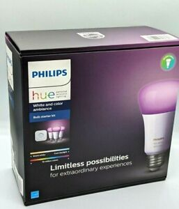 Philips Hue Bulb Starter Kit + Hue Bridge - White and Color Ambiance - A19