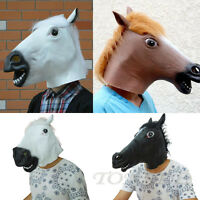 Cosplay Halloween Horse Head Mask Latex Animal Party Costume Prop Toys Novel