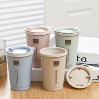 280ML Wheat Straw Portable Double-wall Portable Office Coffee Tea Mug Cups Gifts
