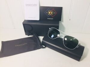 RANDOLPH AF136 AVIATOR Matte Chrome w/ AGX Green 58mm Glass Lenses Suns $219