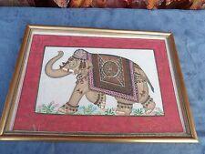 Tableau sous verre Éléphant Ancienne Peinture Indienne sur soie