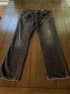 Guess Del Mar Fit Slim Straight Men's Blue Jeans Size 31 x 30 Distressed Denim