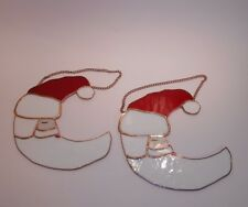 "Pair of 8"" Santa Stained Glass Half Moon Window Wall Hanging Suncatchers St Nick"