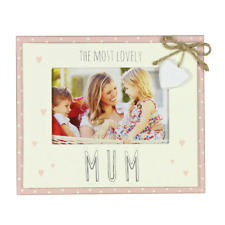 Vintage Wooden The Most Lovely Mum Photo Frame 4x6 Mothers Day Gift