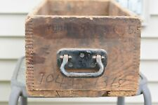 Antique Wood Dovetail Storage Drawer Cubby Crate Box with Original Metal Handle