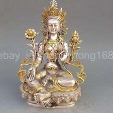 chinese old copper plating silver  Gilt Buddhism Statue -- White Tara Buddha
