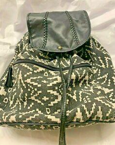 Vintage Boho Leather & Guatemala Huipil Backpack Black & Ivory ,Large!