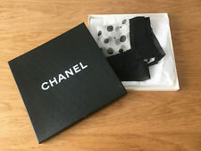 Beautiful Delicate CHANEL Silk Square/Scarf Polka Dot Black/White
