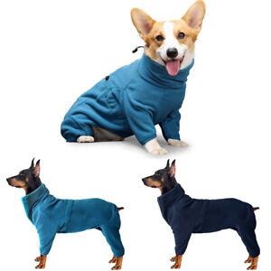 Large Dog Jumpsuit Winter Warm Fleece Dog Coat High Collar Pet Clothes Jumper