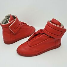 Maison Margiela Mens Red Leather Hi-Top Future Strap Sneakers Size 43 US 10