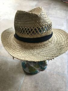 Small Straw Hat Trilby Fedora Lady / Child Size Black Band Sun Protection Woven