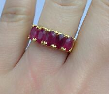 14k Solid Yellow Gold One Rows Band Ring Natural Ruby, Sz 7. 3.90 Grams