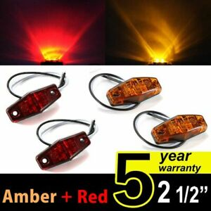 4PCS 2LED Clearance Side Marker Lights Amber + Red for Car Truck Trailer Pickup