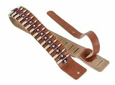 "2 1/4"" Wide .223 Nickel Real Bullet Tan Saddle Classic Guitar Strap"