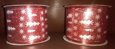 2.5in Wire Ribbon Reflective Red and White Decorations 6 yards long