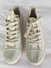 NEXT UK 6.5 LACE UP TENNIS SHOES BEIGE WITH GOLD THREADS