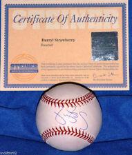 NEW YORK NY METS YANKEES DARRYL STRAWBERRY AUTOGRAPHED AUTO BASEBALL STEINER MLB