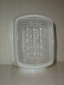 """Vtg Art Deco Ribbed Bathroom Light Shade White Glass Square 3 1/4"""" Fitter"""