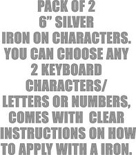 """Pack of 2 x 6"""" Silver Iron On Characters - Letters or Numbers Vinyl Printing"""
