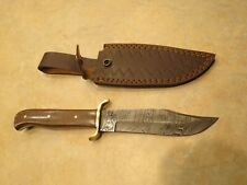 Large Damascus Bowie knife w brown Micarta stocks & leather sheath