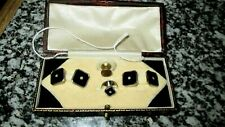 Vintage c30`s Black jet with Seed Pearl Chain Link Cuff link set & tie Stud Set