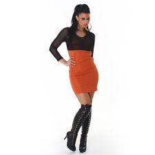 Sexy Langarm Kleid Minikleid halbtransparent gerafft light woodland 34 36 38 S M