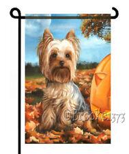 YORKIE painting GARDEN FLAG Dog Yorkshire Terrier AUTUMN FALL HALLOWEEN