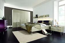 HÜLSTA Metis Plus Komplett Schlafzimmer Doppelbett 180 x 200 Lack Hochglanz Sand