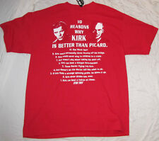 MENS T-SHIRT MEDIUM STAR TREK KIRK PICARD CAPTAIN MOVIE TV SHOW GRAPHIC TEE NEW!