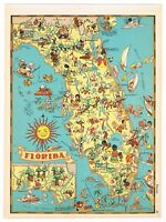 ORIGINAL GAY GEOGRAPHY RUTH TAYLOR VINTAGE FLORIDA MAP PICTORIAL 1935 MIAMI A+