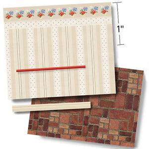 1:48 Scale Dollhouse Wallpaper - Vintage 1940 Polka Dots & Flower Pots