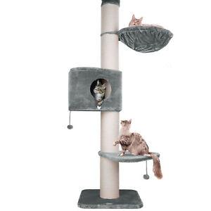happypet®  XXL Kratzbaum deckenhoch für große Katzen mit Haus 250 - 275cm GRAU