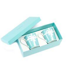 TIFFANY & CO. Bow Ribbon Bone China Blue Mug Cup 2pcs Set in Gift Box from Japan