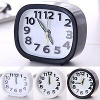 Square/Round Quartz Analogue Alarm Clock Snooze Small Clocks Travel Battery Desk