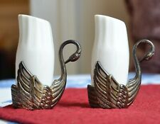 Vintage White Elegant SWAN Salt & Pepper Shakers Metal Holders w/ Ceramic Insets