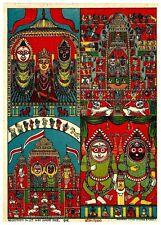 """India c.1910 litho print 7"""" x 10"""" Hindu images Shrijagagisani"""