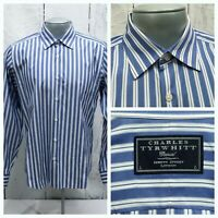 CHARLES TYRWHITT CASUAL L LARGE SHIRT BLUE WHITE STRIPED LONG SLEEVE BUTTON UP