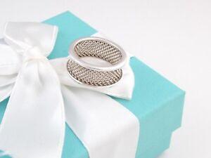 Tiffany & Co Silver Mesh Bar Ring Band Size 6