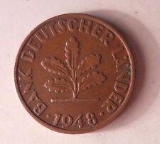 1948 D GERMANY PFENNIG - RARE First Coin - Excellent - GERMAN BIN #4-2