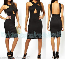 Clubbing Cocktail Party Celebrity Casual Backless Strap Cross Back Dress SMALL