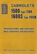 FIAT 1500 1600S CABRIOLET TYPE 118K 118SB MANUAL TALLER WORKSHOP REVUE TECHIQUE
