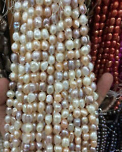 """8-9mm Water White pink purple Freshwater Cultured Pearl Loose Beads 13"""" A+++"""